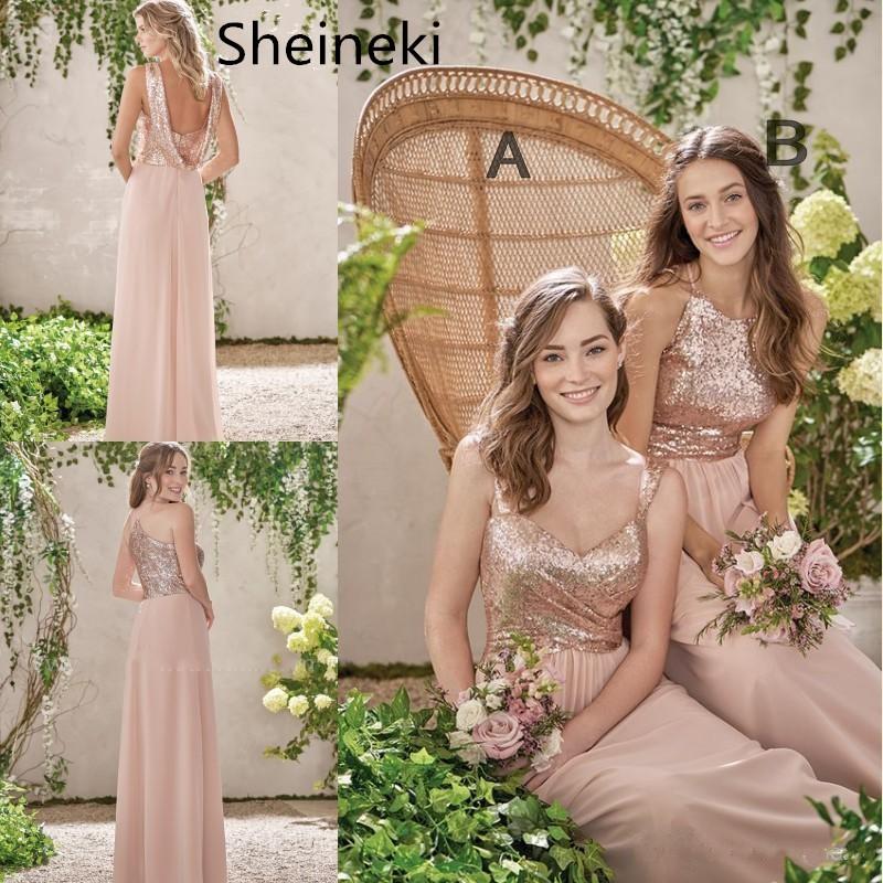 Rose Gold Bridesmaid Dresses A Line Spaghetti Backless Sequins Chiffon Dress Shopee Malaysia