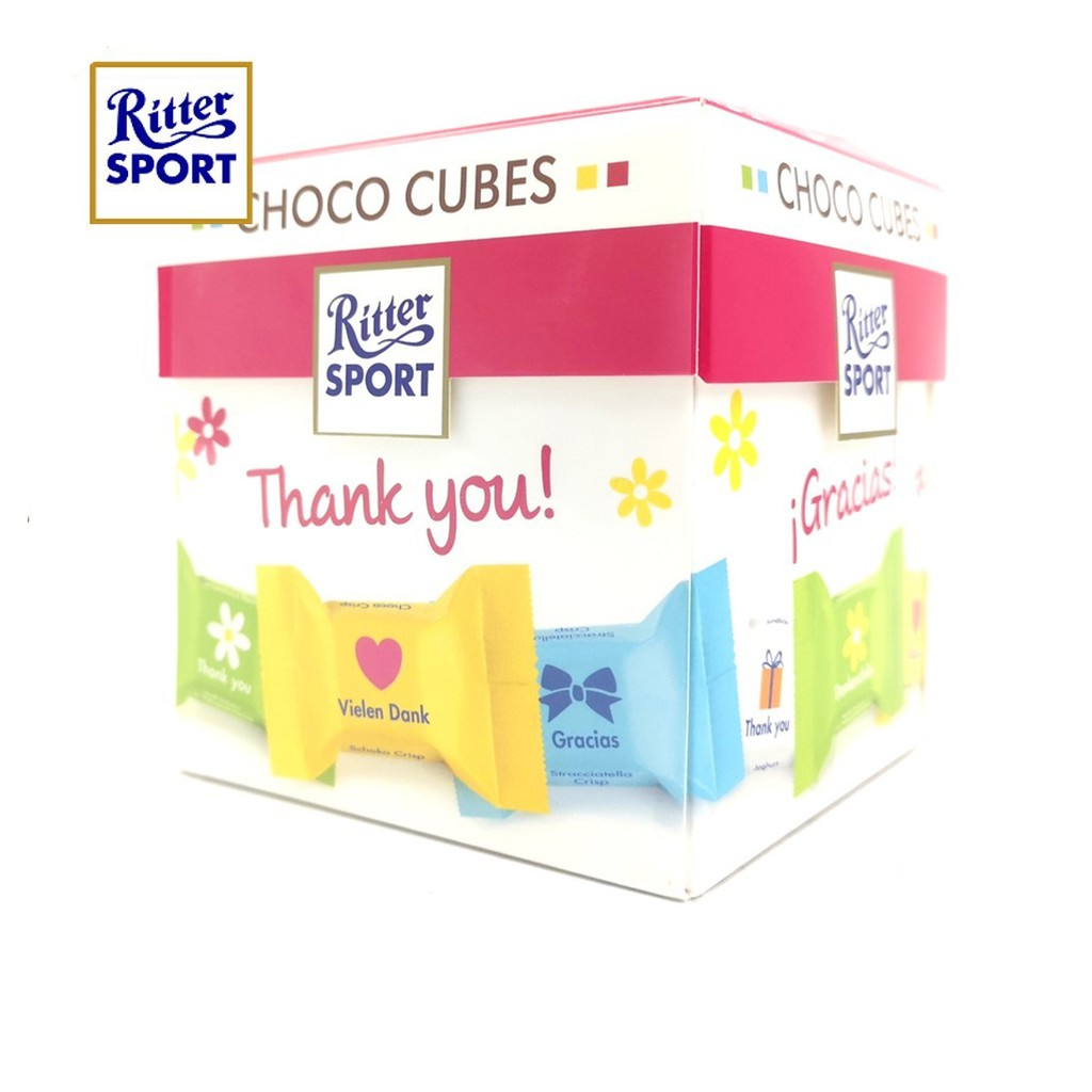 Ritter Sport Choco Cubes Thank You Chocolate 176g 22pcs [Ice Pack Included]