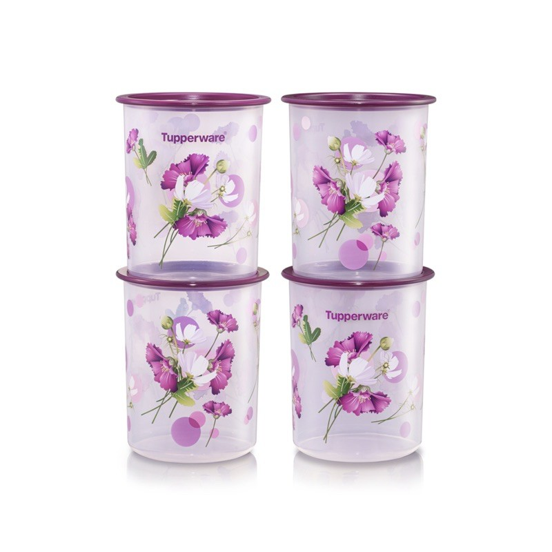 zbr1 Tupperware Royale Bloom One Touch Canister Junior (4) 1.25L