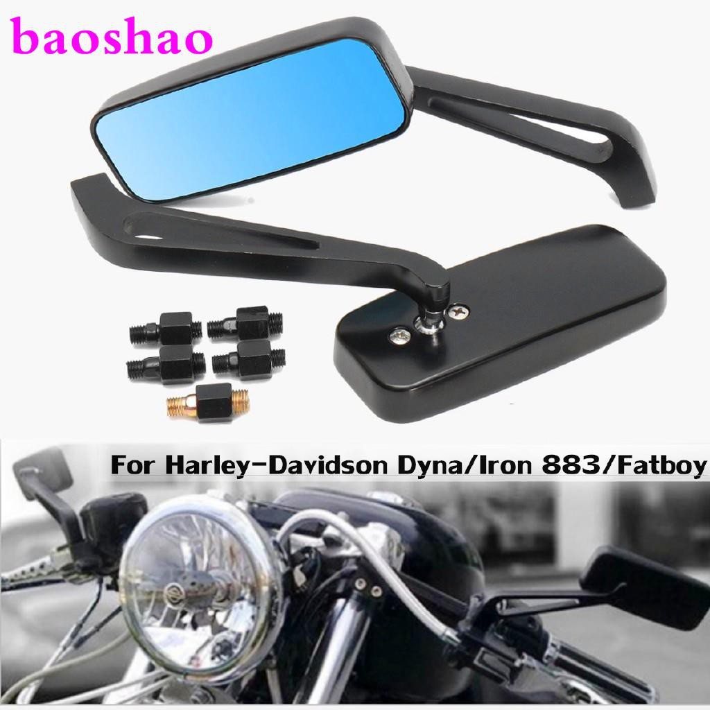 """Black 3 Inch Round Mirrors Pair Harley Bolt On 5/"""" Adjustable Stems Left or Right"""