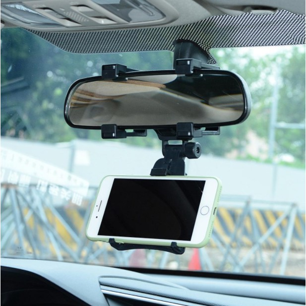 360 Rotating Universal Car Rear View Mirror Mount Car Holder IPhone Samsung Huawei Oppo VIvo