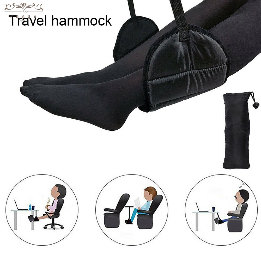 Relaxation and Comfort Airplane Travel Accessories Set Provides Lower Back Support Airplane Footrest Hammock and Inflatable Lumbar Pillow Proven to Prevent Legs Swelling and Soreness