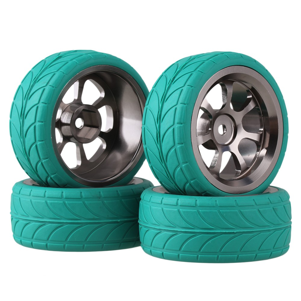 4x RC 1:10 On Road Car Grey 7 Spoke Alloy Wheel Rims Arrow Pattern Rubber Tyres