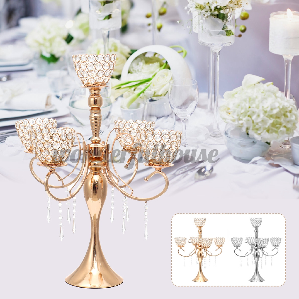 Gold Silver Candle Holders Wedding Decoration Metal Crystal Centerpiece Dining Table Candelabra Stand Home Decor Mother Day Shopee Malaysia