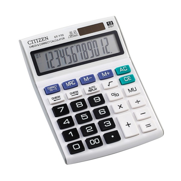 Financial 12 Digits Solar Battery Dual Power Portable Desktop Calculator