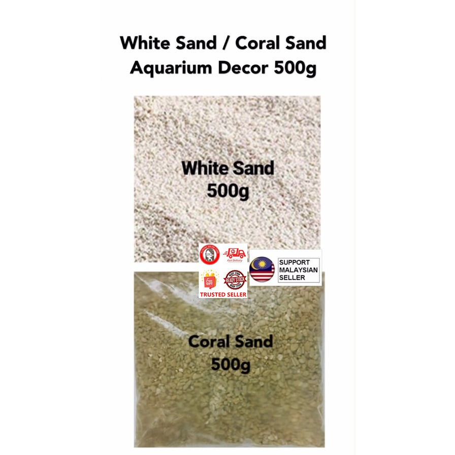 WHITE SAND / CORAL SAND AQUARIUM DÉCOR 500G
