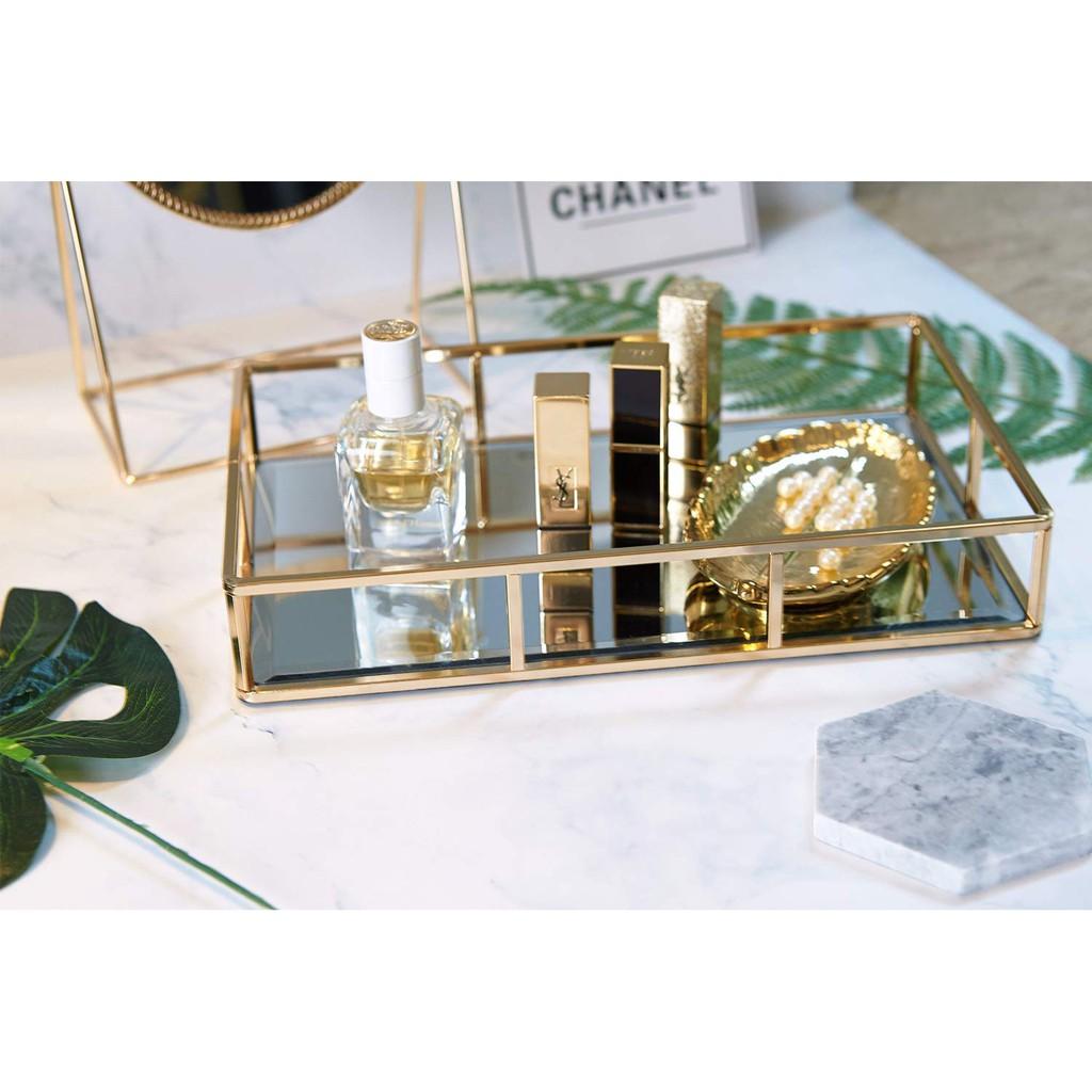 Tray Mirror Gold Mirror Tray Perfume Tray Mirror Vanity Tray Metal Decorative Tray Tray Jewelry Perfume Organizer Shopee Malaysia