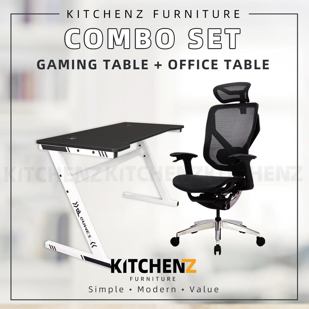 [COMBO] VIDA-V7-X Ergonomic Black Office Chair + GTGAMEZ 4FT Z Series Matt Surface With White Gaming Table