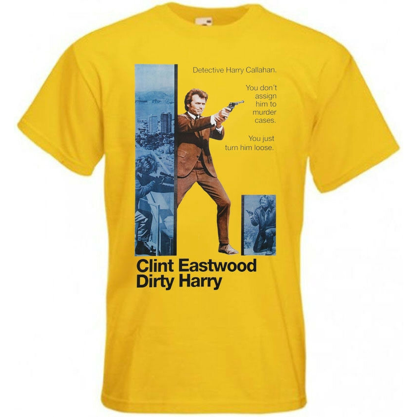 Dirty Harry v2 T shirt Clint Eastwood 100/% cotton white yellow all sizes S-5XL