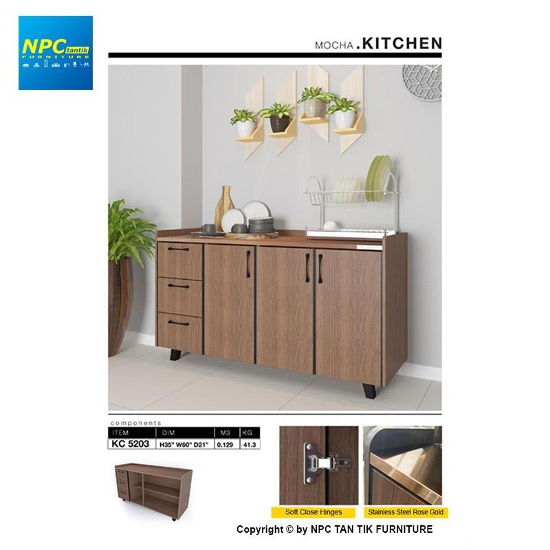 Npc Kc 5203 5ft Low Kitchen Cabinet Mocha Kitchen Furniture With Storage And Rack Shopee Malaysia