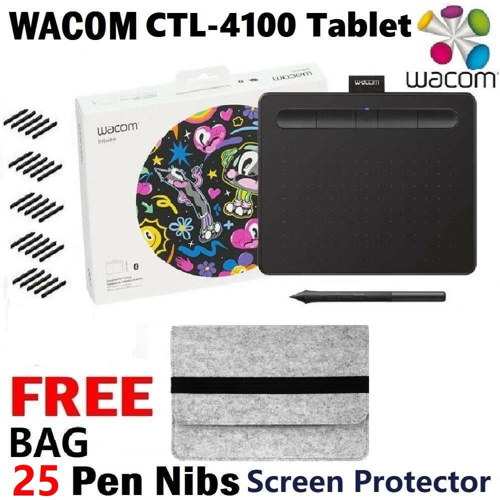 Wacom Intous S CTL-4100/K0-CX Creative Pen Drawing Tablet - Black FREE BAG  PEN Screen Protector