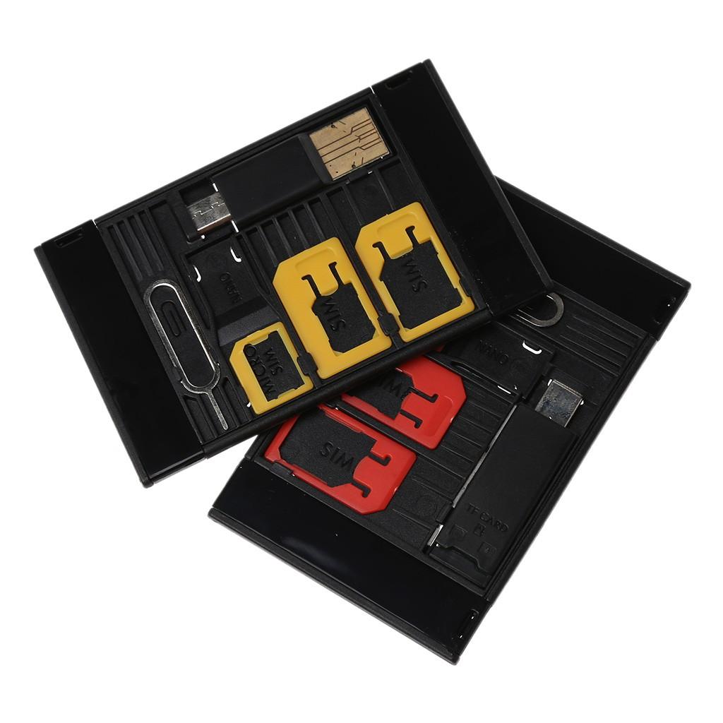 Utake5 in 1 Mini SIM Card Adapter Storage For Nano Micro SIM Card TFReader