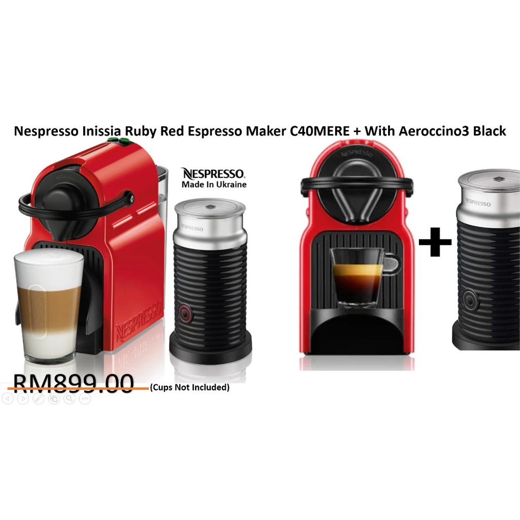 Nespresso Inissia Ruby Red Espresso Maker C40MERE / BUNDLE SET With Aeroccino3 Black