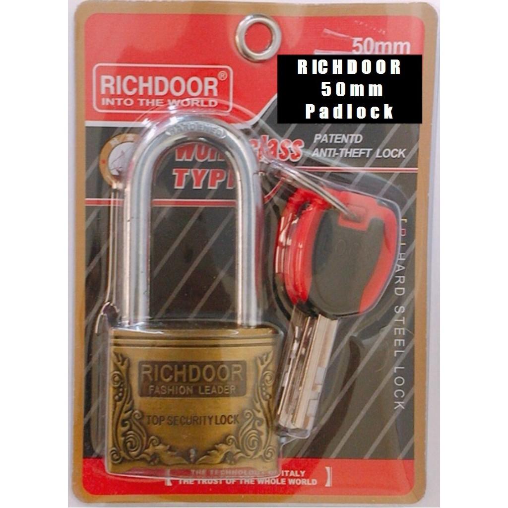 RICHDOOR Zinc Alloy Bronze Long Head Pad Lock Anti Cut Anti Rust Premium Quality Pad Lock 50mm
