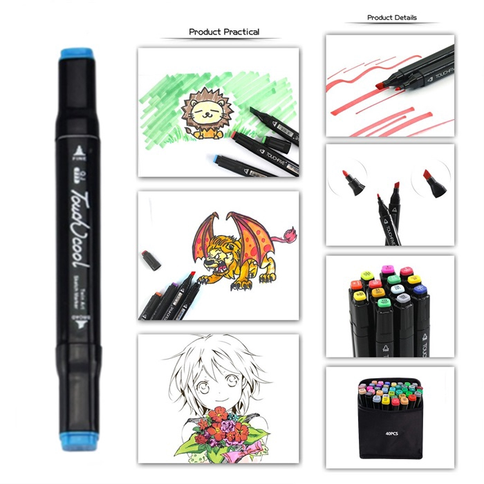 💥New💥 40pcs Touch Cool Colours Graphic Art Twin Tip Marker Pen color
