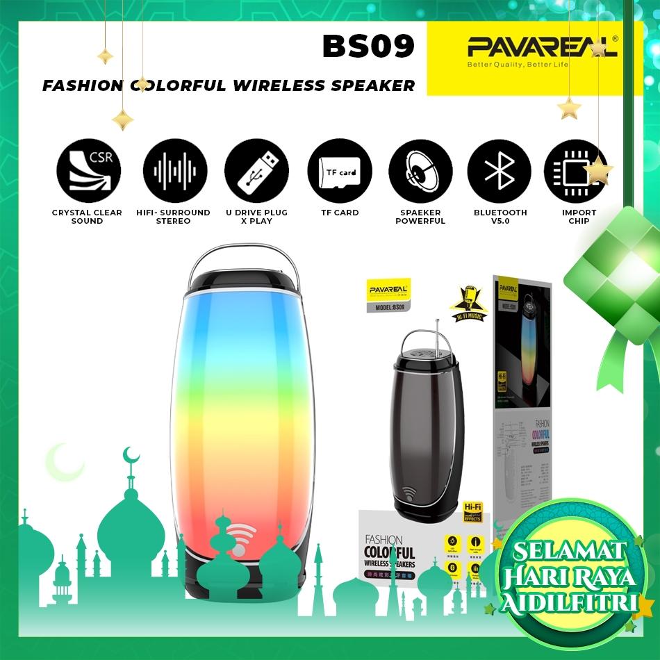PAVAREAL PA-BS09 Colorful V5.0 Bluetooth Speaker LED Light Surround Hifi Stereo FM Radio Built-in HD Mic TF Card 1200mAh