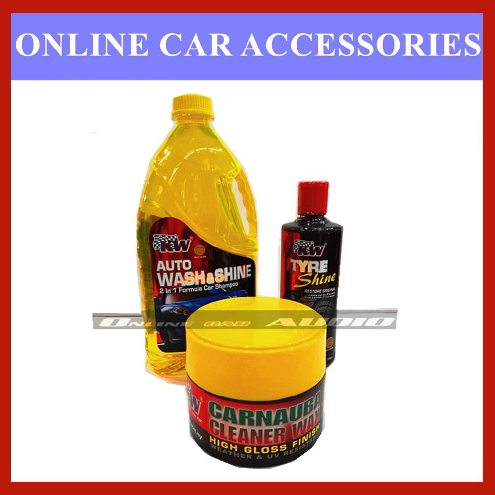 Kw 1x Auto Wash n Shine,1x Tyre Shine,1x Carnauba Cleaner Wax (3 item in package)