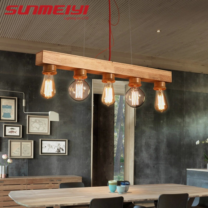Modern Pendant Lights Wood Led Kitchen Lights Led Lamp Dining Room Hanging Lamp Ceiling Lamps Lighting Fixtures For Long Table Shopee Malaysia