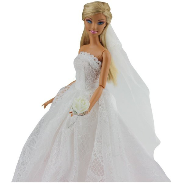 Barbies Princess Dress Barbie Dolls Fashion Wedding Evening Party Gown  Outfit  e8d97f4fac5f