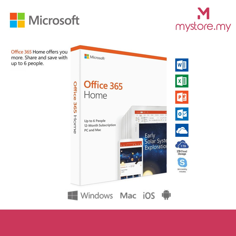 Microsoft Office 365 Home 1-year subscription, 6 users, PC/Mac