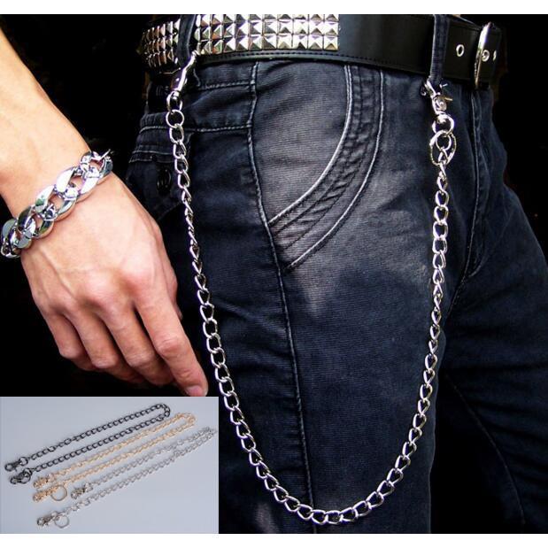 Men Hip Hop RockPunk Biker Trucker Chain Keychain Jean Wallet Waist Chain Clip