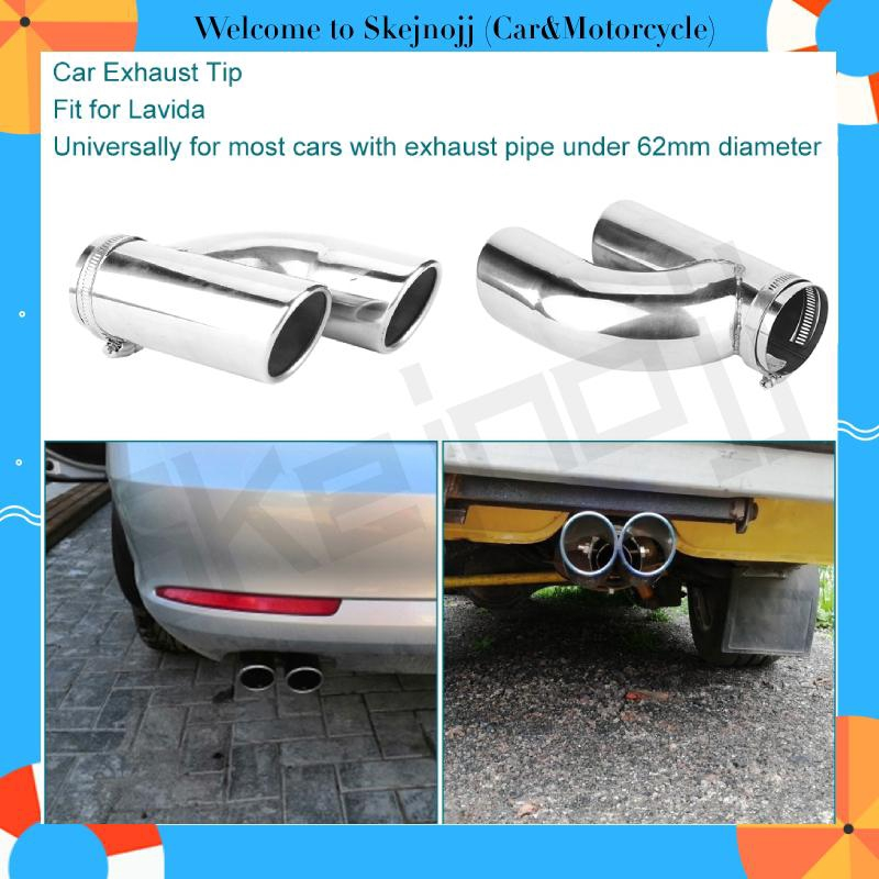 1x Car Exhaust Pipe 62mm Inlet Trim Tip Muffler Pipe Stainless Steel Tail Throat