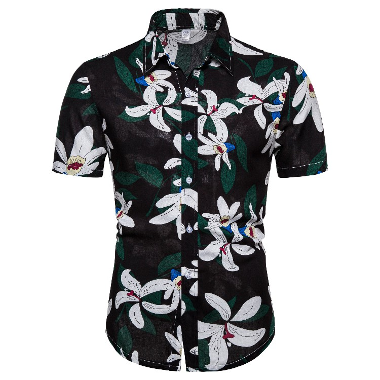 Hawaiian Cool T shirt Men Short Sleeve Beach Party Leaves Floral Tee Top Holiday
