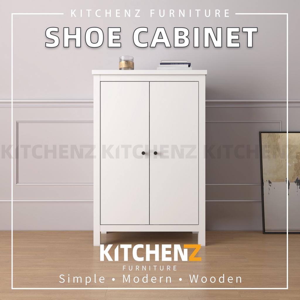 Kitchenz 2.6FT Paisley Series Shoe Cabinet Modernist Design Storage Cabinet with Plastic Wood Leg - HMZ-FN-SR-P1230-WT