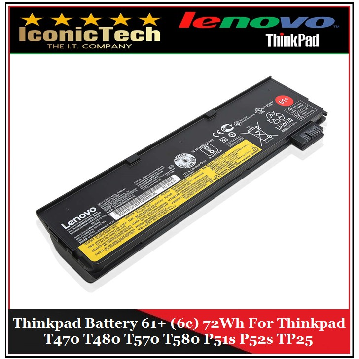 Lenovo Thinkpad Battery 61+ 6cell 72wh T470 T480 T570 Genuine New