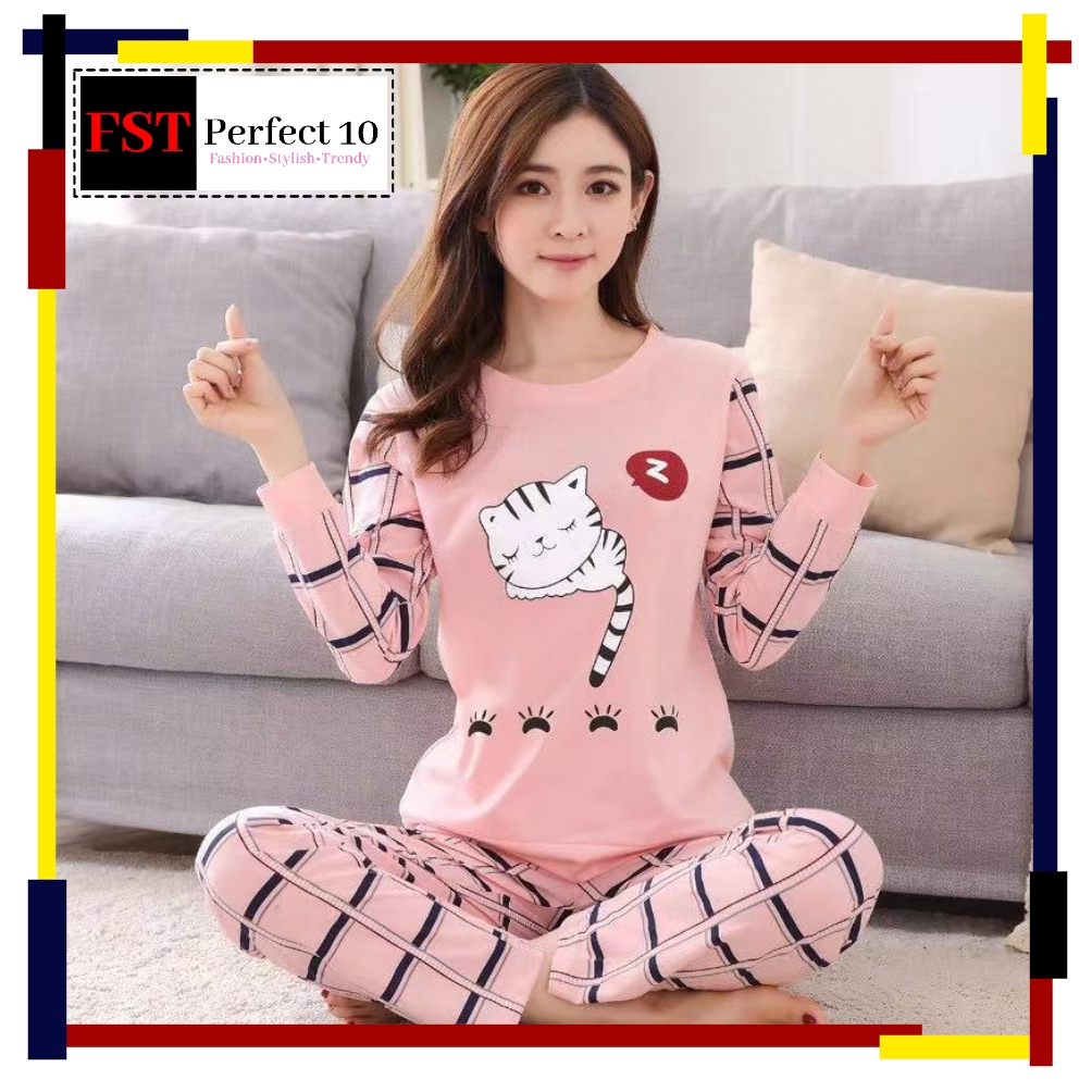 FST Silk Fabric Long Sleeve and Long Pant Pink Cat Plaid Pants Pyjamas / Set Baju Tidur Elegant design [6007]