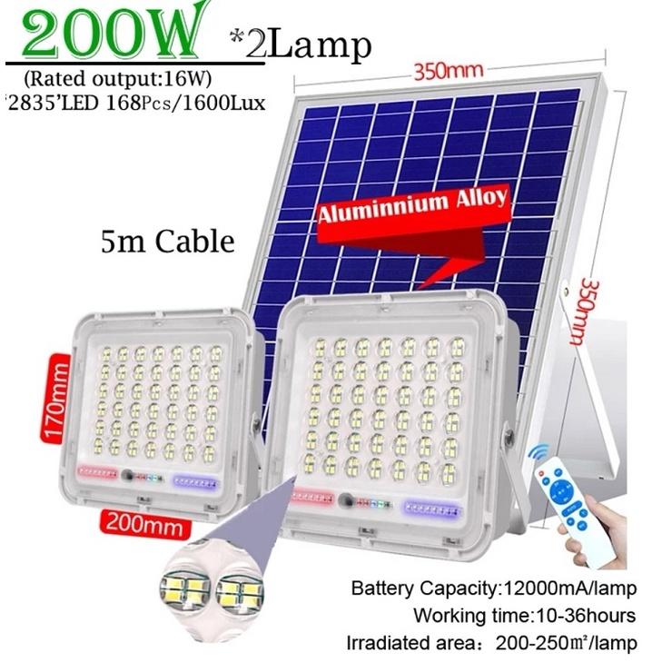 [ READY STOCK ]  Solar Dual Head 100w+100w Flood Light Remote Control Waterproof Auto Induction Lampu Pelita Jualan Murah
