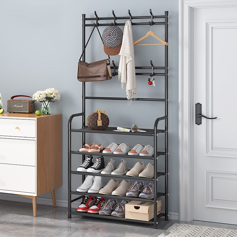 GDeal Simple Humanized Design Multipurpose Floor Coat Rack Shelf And Space Saver Shoe Rack