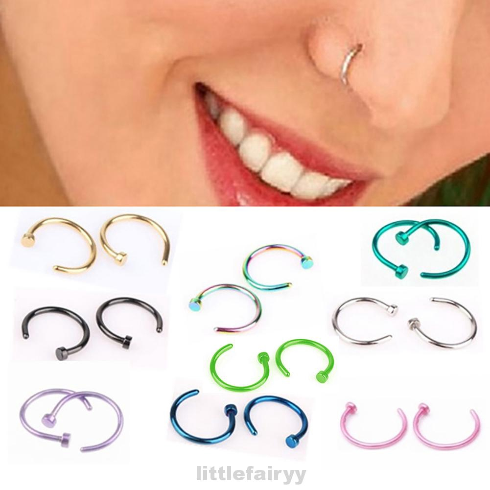 6mm 8mm 10mm Small Thin Surgical Steel Nose Lip Open Hoop Ring C