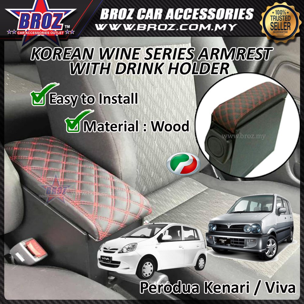 Broz Korean Wine Series Armrest With Drink Holder For Perodua Kenari / Viva