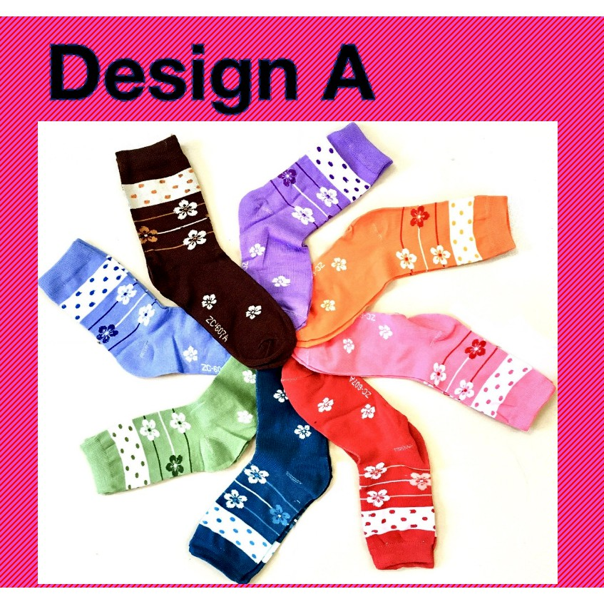 Stylish Women Girl Long Cotton Socks Creative Flower and Cuties Design