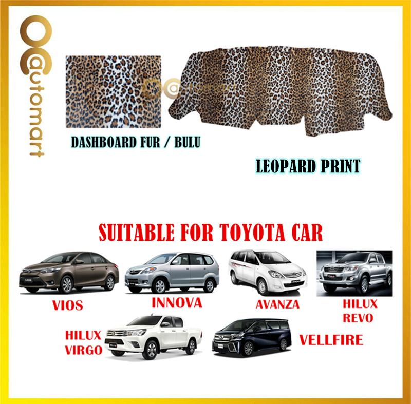 (Leopard Print) Customized Dashboard Cover Fur / Bulu For Honda Nissan Toyota Isuzu