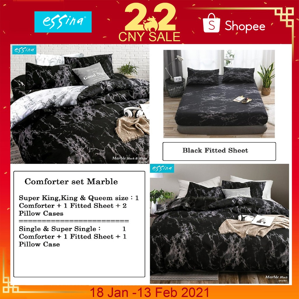 Essina Marble Comforter Fitted Bed Sheet Set 500tc Cadar Microfiber Set Super King King Queen Super Single Single Shopee Malaysia