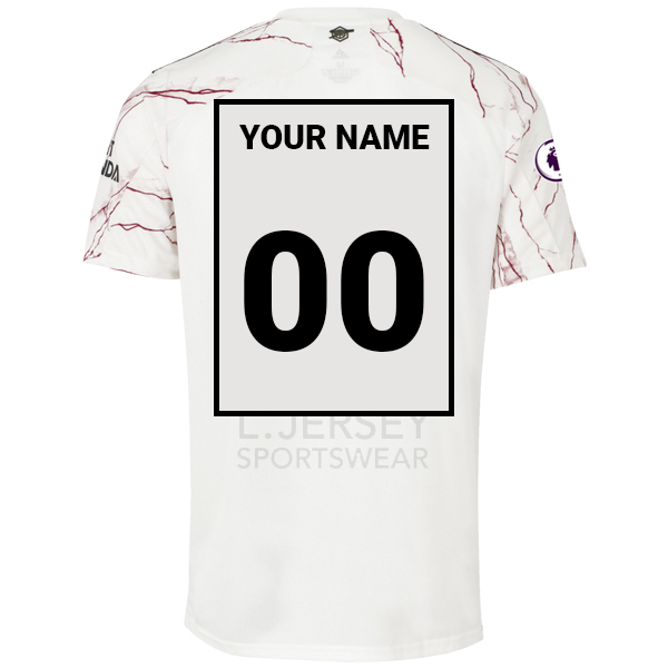 Arsenal Men Away Season 20/21 AEROREADY Fans Issue Jersey with EPL #00 YOUR NAME + Patch Printing