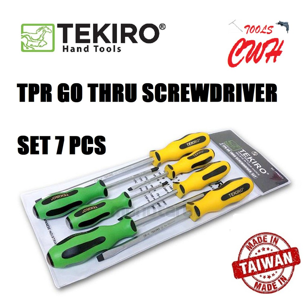 TEKIRO SD-TG0956 TPR GO THRU SCREWDRIVER SET 7PCS PHILIP(+) SLOTTED(-) TEKIRO MADE IN TAIWAN TPR GO THRU SCREWDRIVER SET