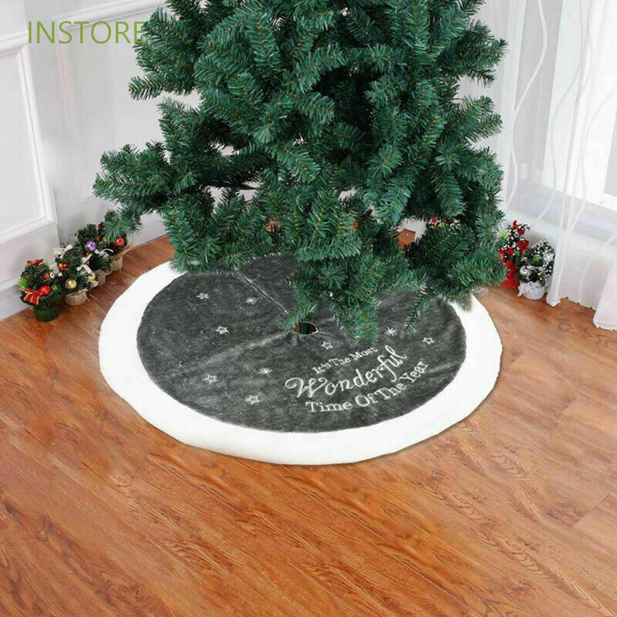 Instore 35inch Tree Foot Cover Home Blanket Christmas Tree Skirt New Year Plush Snowflake Christmas Decorations Rugs Xmas Mat Shopee Malaysia