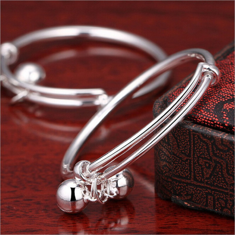 82417df988b9a 925 Silver Plated Children's Bracelet Bell Baby Cute Bangle