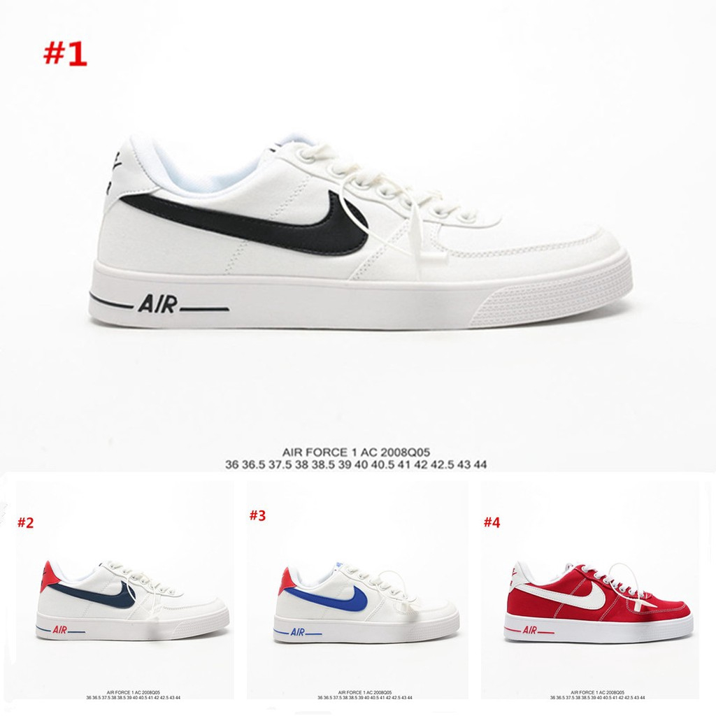 Nike Wmns Air Force 1 Ac White Red Low Top Non Slip Sneakers Board Shoes For Men Women Sneakers