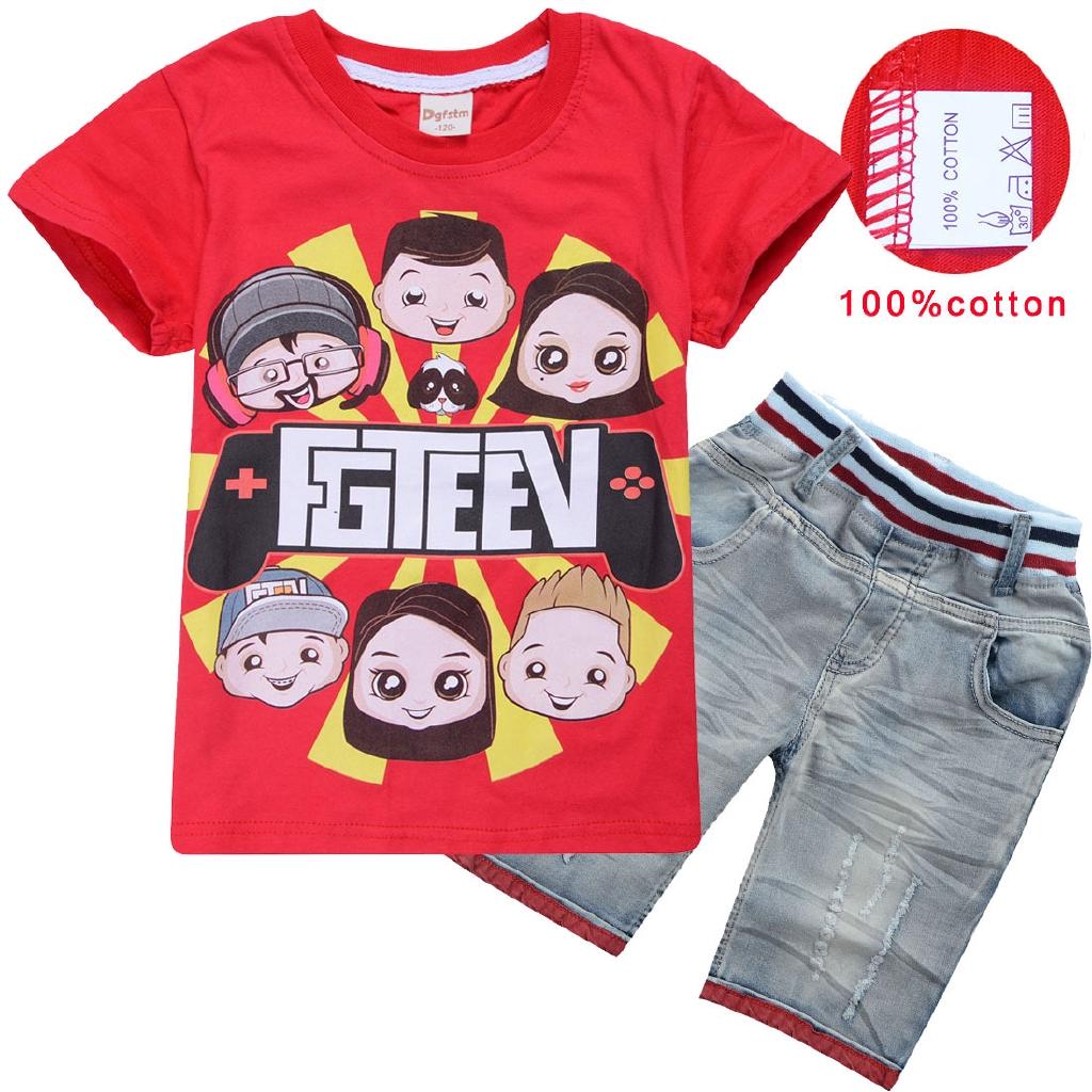 Kids  Girls FGTEEV Cartoon Summer 100/% cotton Tracksuit T-Shirt Top Shorts Set