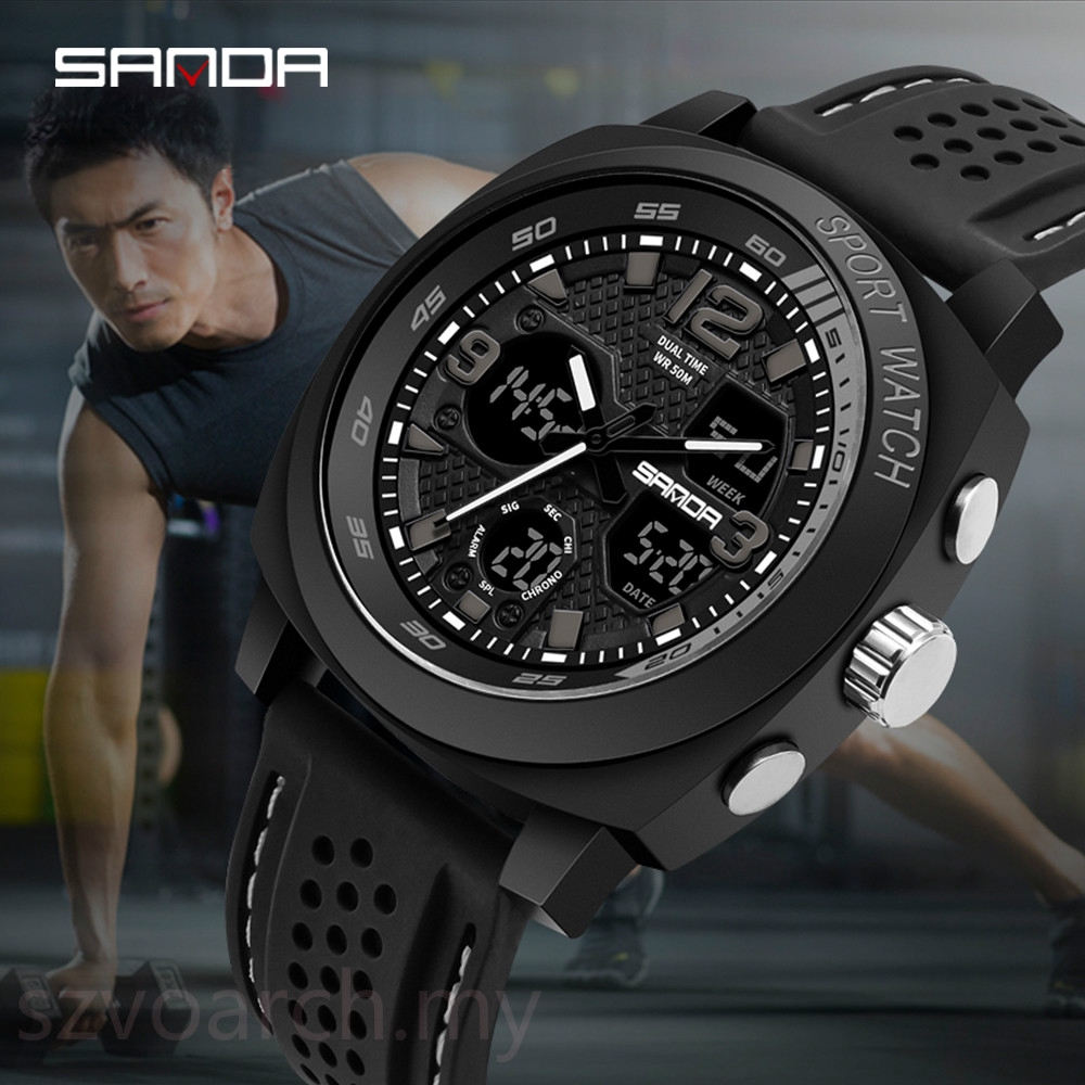 SANDA 2020 Brand Men's Fashion Sports Watch Men's LED Waterproof Digital Watch G Casual Vibration Military Watch Jam