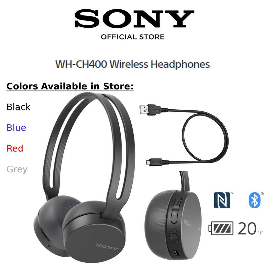 Sony WH-CH400 Bluetooth Wireless On-Ear Headphones Headsets Audio Music
