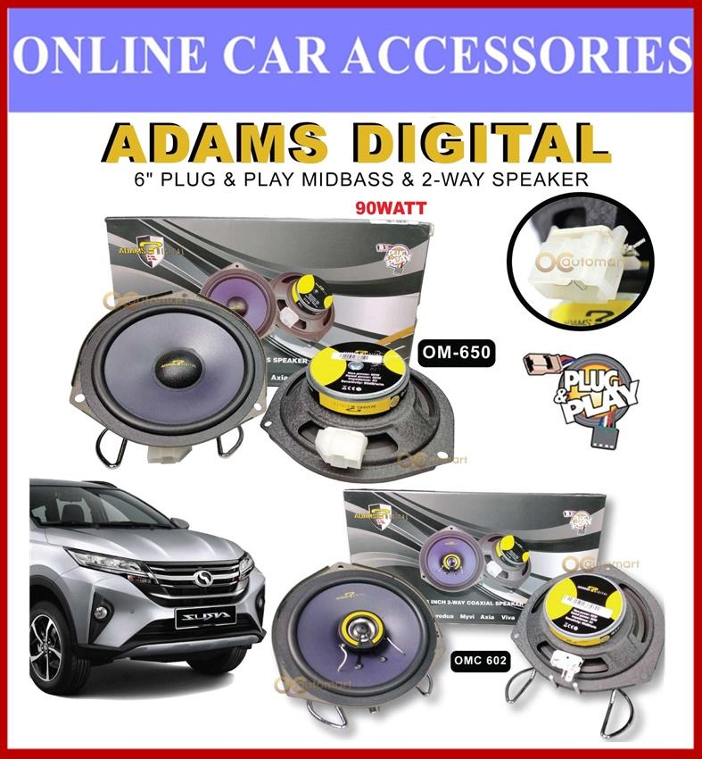 """Perodua Aruz Adams Digital 6"""" Mid Bass & 6"""" 2-Way Coaxial Plug & Play Oem Car Speaker"""