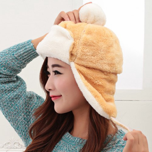 Chic Downy Ball Decorated Plush Texture Trapper Hat For Women