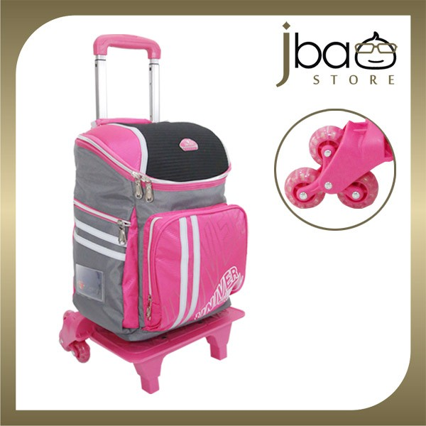 Univer 6 Wheels Trolley Kid School Bag Lightweight Backpack (Pink)