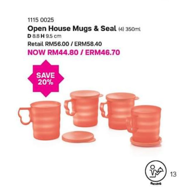 Tupperware (1set=4pcs) Open House Mugs with Seal Mug & Seals 350ml New Color Coral Blooms Salmon Red