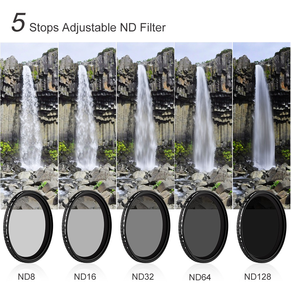 K/&F Concept 82mm ND8 to ND128 Variable Neutral Density Filter Slim Fader ND Filter 82mm 3-Stop to 7-Stop for Camera Lens NO X Spot Ultra-Slim ND Nanotec